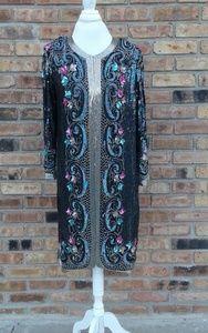 1980s Beaded Tunic/Dress Size Large